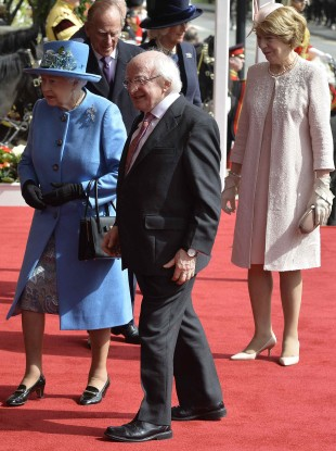 Michael D Higgins, his wife Sabina and Queen Elizabeth in Windsor yesterday.
