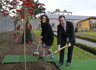 Brian Hayes with British Secretary of State for Northern Ireland Theresa Villiers in 2012