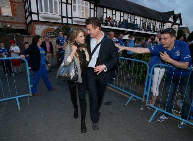 Brian O'Driscoll and his wife, Amy Huberman, leave the RDS.