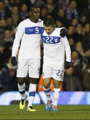 Mario Balotelli and Giuseppe Rossi playing up front together last year.