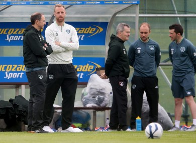 Before the rain: O'Neill chats with David Meyler on the sidelines in Malahide.