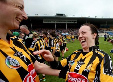 Kilkenny's Elaine Aylward and Aoife Neary celebrate.