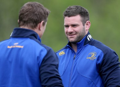 McFadden [right] and Brian O'Driscoll at Leinster training in UCD.
