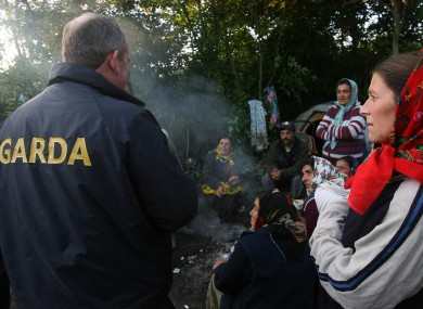 Immigration officers remove and deport almost 60 Roma people at a camp in Ballymun, Dublin in 2007.