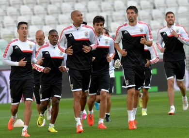 The Benfica players train at the Juventus Stadium yesterday.