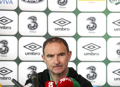 Ireland manager Martin O'Neill pictured at today's press conference.