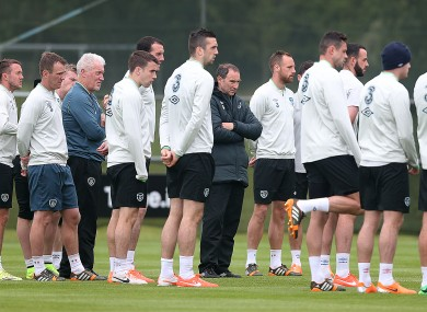 The  Ireland side pictured training in Malahide yesterday.