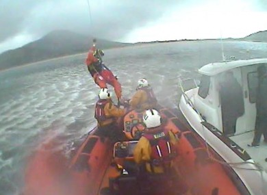 Fisherman being rescued off the Donegal coast.