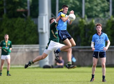 Dublin's Shane Clayton and Kyle Dixon of Meath battle for possession.