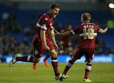 Derby's Chris Martin celebrates scoring in the first leg tie.