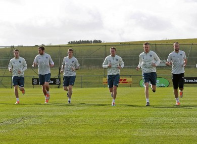 The Ireland squad training at Gannon Park.