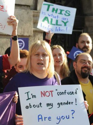 File photo: Trans people and allies demand introduction of inclusive and respectful gender recognition legislation in Ireland (2012)