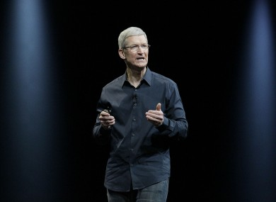 Apple CEO Tim Cook speaking at the company's annual developer conference.