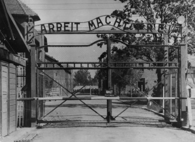 The main gate at Auschwitz.
