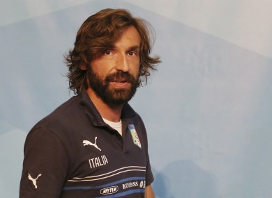 Italy's Andrea Pirlo arrives for a press conference at the Casa Azzurri in Mangaratiba, Brazil.