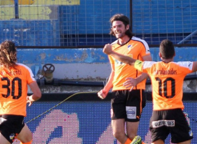 Cillian Sheridan celebrates his goal.