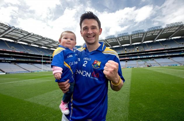 Conor Egan celebrates with his daughter Elaine
