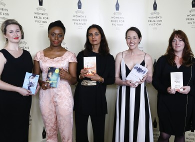 Five of the nominees for the prize - Hannah Kent, Chimamanda Ngozi Adiche, Jhumpa Lahiri, Audrey Magee and Eimear McBride.