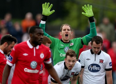 Sligo Rovers goalkeeper Gary Rogers shouts at his defence on Friday.