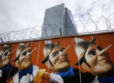Graffiti on a hoarding outside the ECB in Frankfurt