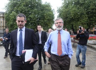Sinn Féin's finance spokesperson Pearse Doherty and party leader Gerry Adams