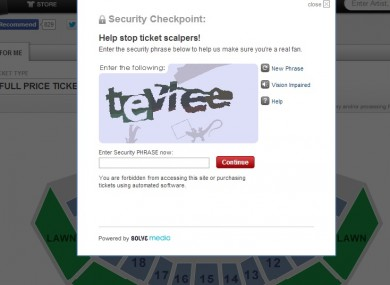 Ticketmaster's new security check system in action on the US website.