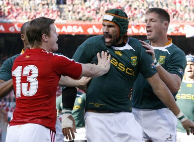 Matfield and Botha [right] helped the 'Boks to success over the Lions in 2009.
