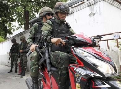 Thai soldiers on patrol.