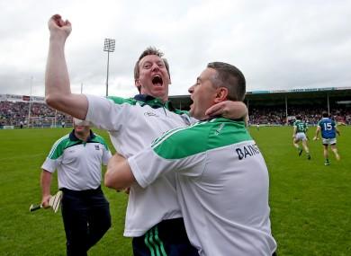 TJ Ryan embraces Limerick selector Paul Beary.