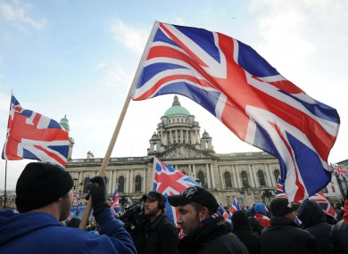 Loyalists gather for a weekly protest regarding the decision to restrict the flying of the Union flag over the City Hall.
