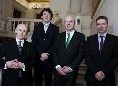Dr John Williams, Wellcome Trust; Dr Colm J Ryan, UCD; Prof Mark Ferguson, director-general of Science Foundation Ireland and Dr Roger Blake, Wellcome Trust