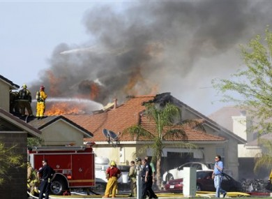 Military jet that crashed on a residential street in California.