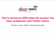 Ireland's first-ever online property auction has been suspended because the website crashed
