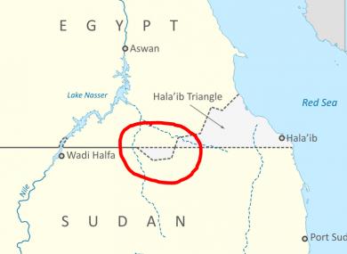 Bir Tawil (circled)
