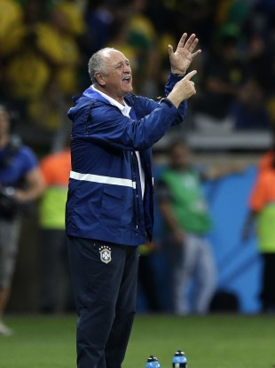 Phil Scolari reminding his players how many goals Germany had scored in 70 minutes.