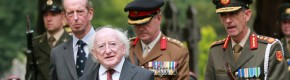Pictures: President and British royal heckled by dissidents at unveiling of monument to war dead