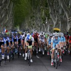 The peloton pictured in action during stage 15 of the 101st edition of the Tour de France cycling race, 222 km from Tallard to Nimes, France. Photographed by: Yuzuru Sunada <span class=