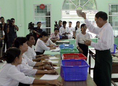 Election monitors watch votes being counted in Burma