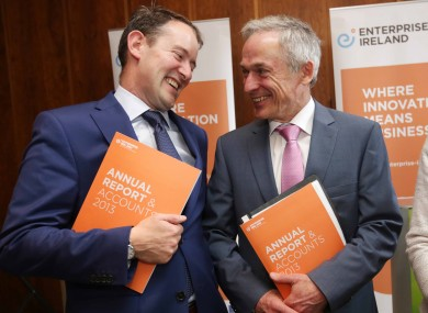Richard Bruton and Sean Sherlock at the launch of EI's 2013 report this week.
