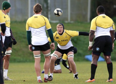 Franco van der Merwe training with the Springboks in 2013.