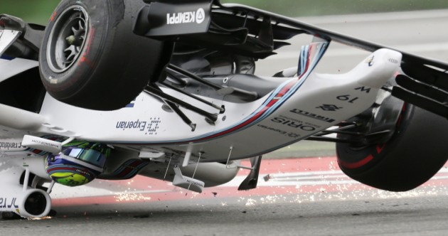 Massa walked away after this spectacular crash turned his F1 car upside down