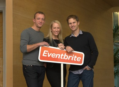 The founders of Eventbrite (from left to right): Renaud Visage, Julia Hartz and Kevin Hartz.