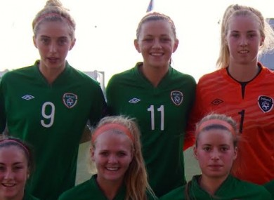 McCabe (back row middle) before the win over Sweden.