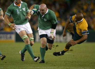 Keith Wood skittles George Gregan in the 2003 World Cup.