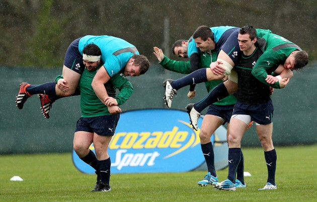 Martin Moore carries Jack McGrath, Jonathan Sexton carries Dave Kearney and Andrew Boyle carries Jordi Murphy