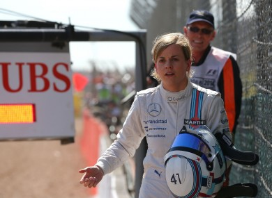 Wolff makes her way back to the pit lane after her car stopped.
