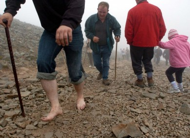 Climbers on Croagh Patrick in July 2007.