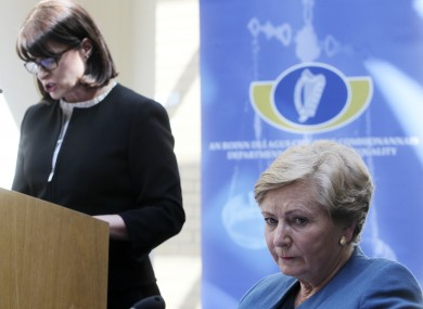 Emily Logan and Frances Fitzgerald at the launch of the report today.