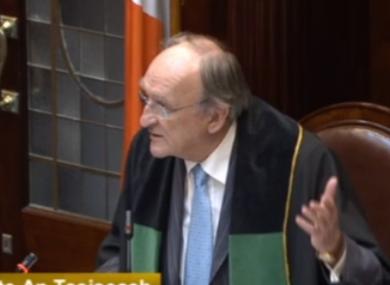 Ceann Comhairle Seán Barrett in the Dáil today