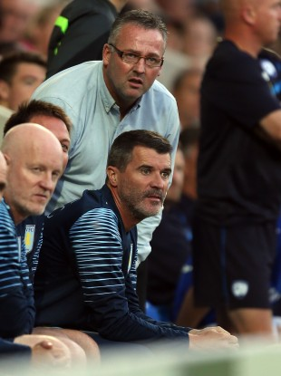 Roy Keane and manager Paul Lambert on the bench last night.